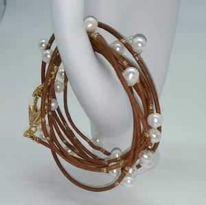 Freshwater Pearl Leather Wrap Bracelet